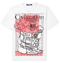 Junya Watanabe Printed Cotton Jersey T Shirt Multi