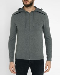 Ikks Grey Flannel Zipped Hooded Cardigan
