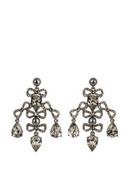 Oscar De La Renta Bow Crystal Embellished Earrings Grey