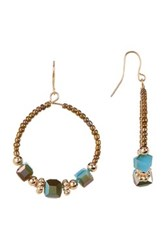 Spring Street Beaded Glitzy Glass Square Bead Hoop Earrings Blue