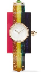 Gucci Embellished Plexiglas And Gold Tone Watch Yellow