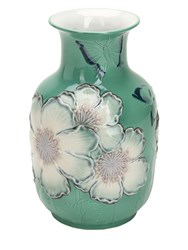 Lladro Limited Edition Poppy Flowers Tall Vase Green