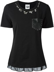Twin Set Studded Flowers Blouse Black