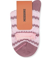 Missoni Short Wavy Striped Socks Pink 001