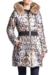 Laundry By Shelli Segal Toya Leopard Print Fur Trimmed Puffer Natural