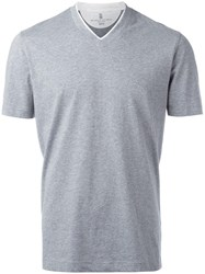 Brunello Cucinelli V Neck T Shirt Grey