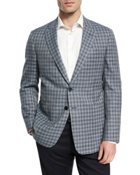 Giorgio Armani Check Wool Silk Linen Two Button Sport Coat Light Blue