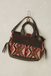 Anthropologie Embroidered Virginia Shoulder Bag Red Motif