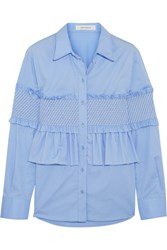 Cedric Charlier Ruffled Smocked Cotton Blend Shirt Sky Blue
