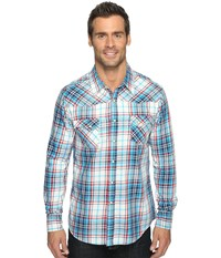 Rock And Roll Cowboy Long Sleeve Snap B2s9058 Turquoise Men's Long Sleeve Button Up Blue