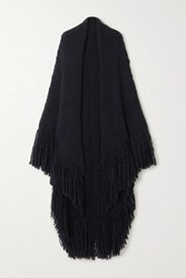 Gabriela Hearst Net Sustain Lauren Fringed Cashmere Wrap Navy