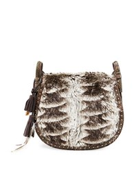 Steve Madden Eldora Faux Fur Saddle Bag Taupe