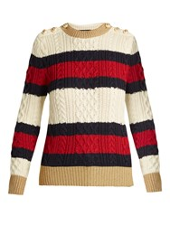 Gucci Striped Cable Knit Wool Sweater Navy Stripe