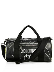 Moschino Leather Duffel Bag Black