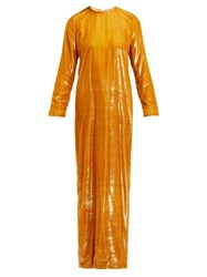 Marques'almeida Tinsel Maxi Dress Gold