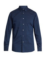 Ermenegildo Zegna Geometric Print Cotton Shirt Navy