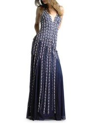 Basix Ii Beaded Strap Gown Navy White