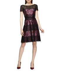 Kay Unger Floral And Lace Dress Black Pink