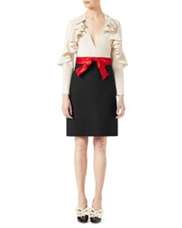 Gucci Silk Wool Dress With Sculpted Sleeves White Black White Black