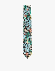 The Hill Side Standard Pointed Tie Toucans And Bananas Print Black