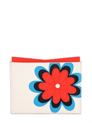Roger Vivier Flower Embroidered Leather Card Holder