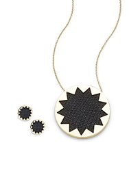 House Of Harlow Gold Tone Starburst Button Earrings And Pendant Necklace Set Black