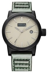 Men's Barbour 'International' Leather Strap Watch 42Mm