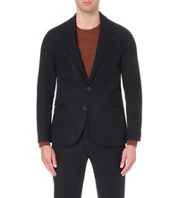 Oliver Spencer Brookes Textured Wool Jacket Dudley Midnight