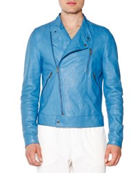 Tomas Maier Asymmetric Leather Moto Jacket Blue