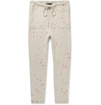 The Elder Statesman Slim Fit Tapered Paint Splattered Cashmere Sweatpants Ecru