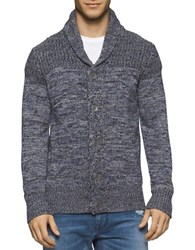 Calvin Klein Jeans Marled Terry Cardigan Navy