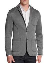 Saks Fifth Avenue Red Raw Edge Jersey Knit Blazer Grey