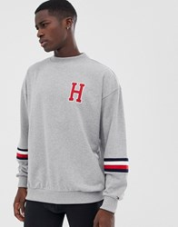 Tommy Hilfiger Sweatshirt With Forearm Stripe And H Logo In Grey Grey Heather