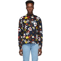 Prada Navy Bloom Wire Of Scotland Turtleneck