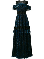 Talbot Runhof Lace Embellished Gown Blue
