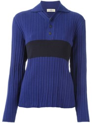 Romeo Gigli Vintage Knit Polo Shirt Blue