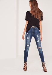 Missguided Highwaisted Ripped Skinny Jeans Vintage Blue