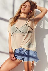 Out From Under Illusion Mesh Tee Slip Taupe