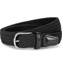 Andersons Woven Elastic And Leather Belt Black