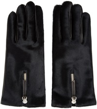 Want Les Essentiels Black Calf Hair And Leather Mozart Gloves