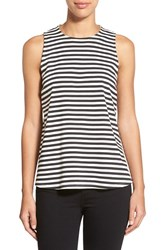 Women's Bobeau Stripe Sleeveless Swing Top Black Ivory Stripe