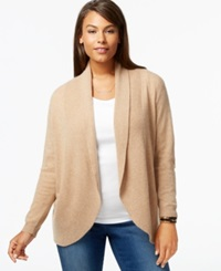 Charter Club Plus Size Cashmere Open Front Cardigan Heather Camel
