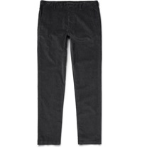 Theory Zaine Slim Fit Stretch Cotton Corduroy Trousers Gray