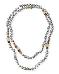 Akola Long Beaded Pearly Necklace Gray