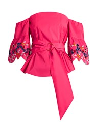 Peter Pilotto Embroidered Off The Shoulder Taffeta Top Fuchsia