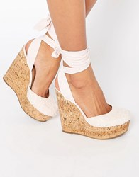 Asos Oracle Tie Leg Wedges Pale Pink Crochet