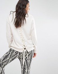 Billabong Fleece Sweatshirt With West Coast Print And Lace Up Back Detail White
