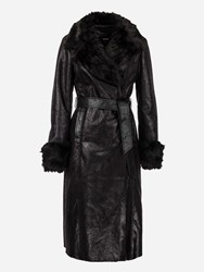 Morgan Leather Look Long Trench Coat Black