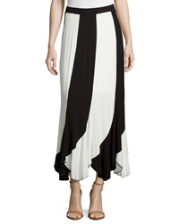Neiman Marcus Striped Scalloped Hem Maxi Skirt Black White