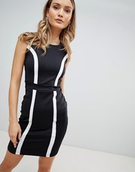 Zibi London Monochrome Bodycon Dress Black